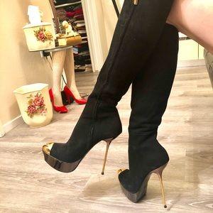 Gianmarco Lorenzi knee high black boots/US 38